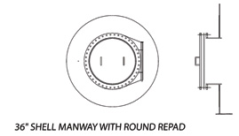"36"" Shell Manway with Round Repad"
